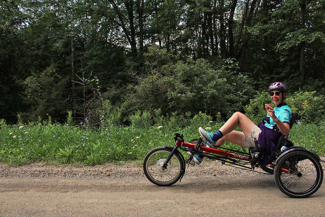 Riding a recumbent trike on a beautiful day