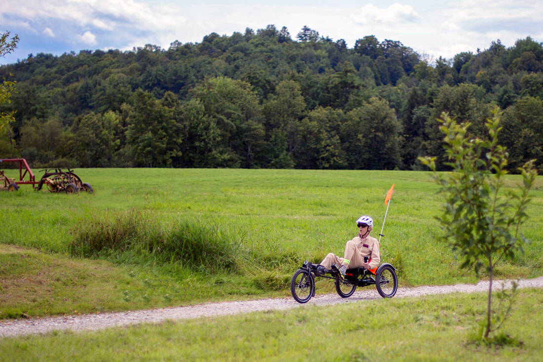 Riding a recumbent trike through the countryside