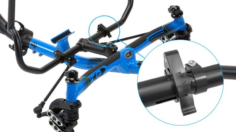 ICE Adventure recumbent trike secure indexed handlebar clamps