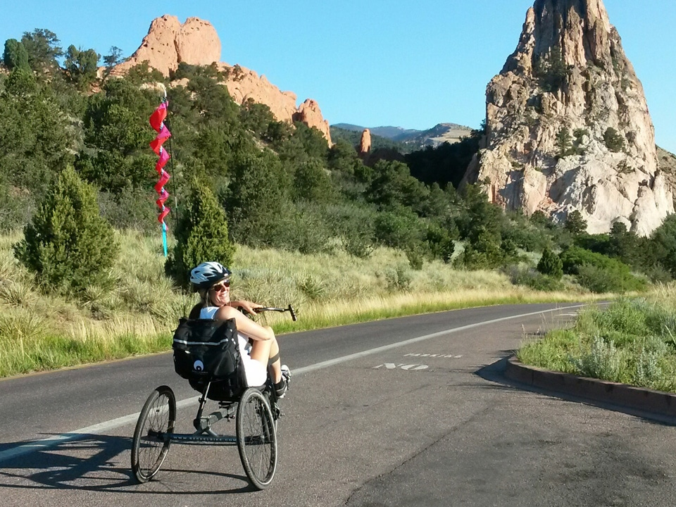 Lisa rolls through the Garden of the Gods near Colorado Springs, CO, on her custom BerkelBike by RAD-Innovations