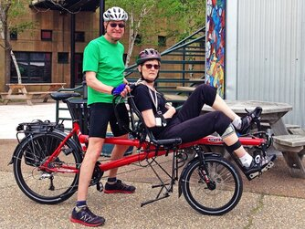 Rachel and Ted on their Hase Bikes Pino adaptive tandem bike