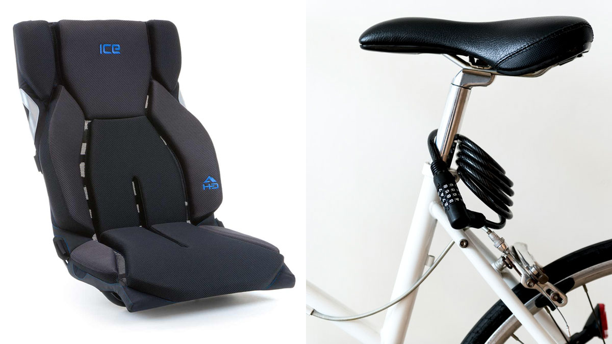 side by side photos of a recumbent trike seat and a traditional bike saddle seat